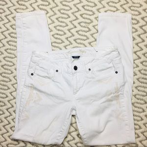 American Eagle White Skinny Stretch Jeans Size 8